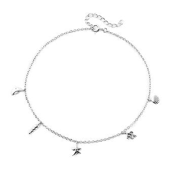 TJC Charm Anklet for Women 9 '' in Sterling Silver