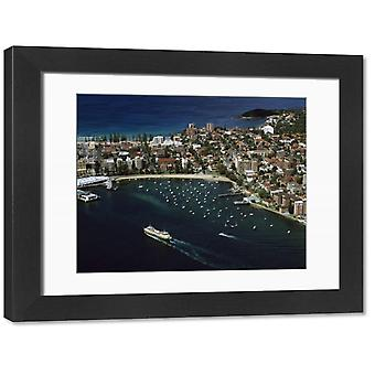 JPF-13660 Manly and Manly Cove with ferry approaching terminal. Large Framed Photo. JPF-13660.