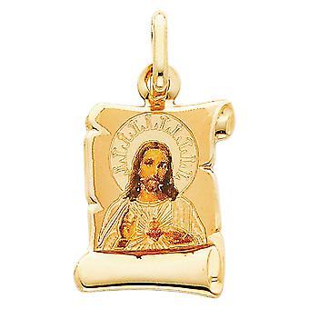 14k Ouro Amarelo Sagrado Amor Coração de Fé Religiosa Inspiração Jesus Imagem Colar Pendente 13x18mm Joias Presentes fo