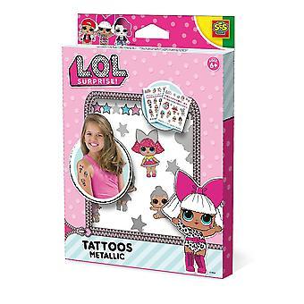 LOL Surprise - Lasten väliaikaiset tatuoinnit Metallinen setti (monivärinen)