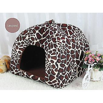 Leopard Dog Kennel Dog House Pet Kennel Soft Comfortable Warm Cat Kennel