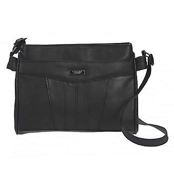 Damer Läder Multi Zip Cross Body Handväska