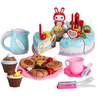 62Pcs blue children's toy simulation cake set with lights birthday cake afternoon tea snacks children gifts az11179