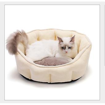Blød fleece kæledyr hund kat seng varm prik seng hus plys hyggelig rede mat pad (gul)