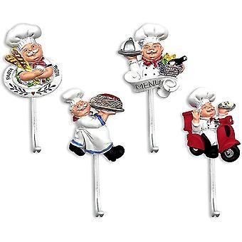4 Packs Decorative 3d Resin Adhesive Hooks Decoration Assorted Cook Figurine Decor