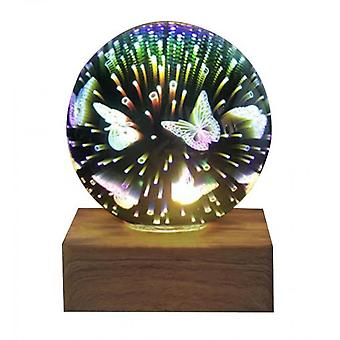 3d Crystal Ball Night Light, Glass Ball With Color Led Base