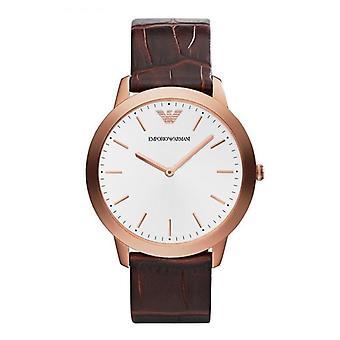 Emporio Armani AR1743 cuero marrón correa plata y oro ronda Dial reloj