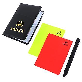 كرة القدم الحكم البطاقة الصفراء الحمراء المهنية بطاقات اللعب النظيف كرة القدم linesman حقيبة جلدية حقيبة مجموعة معدات اللعبة الرياضية