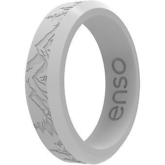 Enso Gyűrűk Vékony maratott fazetta sorozat szilikon gyűrű - Ködös Gray Peak