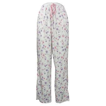 Aria Damen Neuheit Bedruckte Fleece Pyjama Hose Weiß 631033