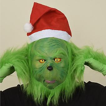 Christmas Costume Props, Green Scary Mask Latex Helmet Adult Masks