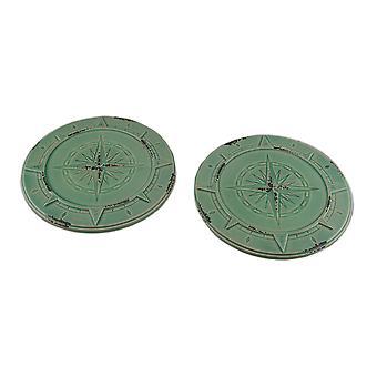 Set of 2 Vintage Aqua Finish Compass Rose Ceramic Candle Plates