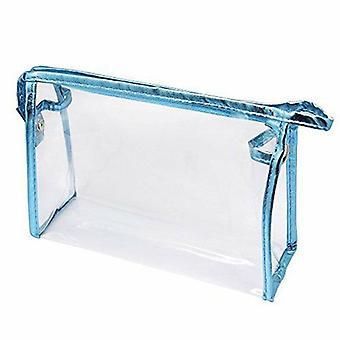 Lichtblauwe transparante waterdichte cosmetische tas PVC vinyl rits toilettas (22,5 cm * 14 cm * 7 cm)