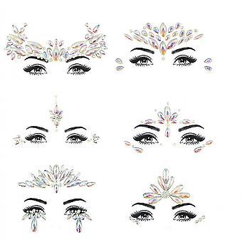 6pcs Halloween Noctilucent Face Gems Tattoo Sticker,cosplay