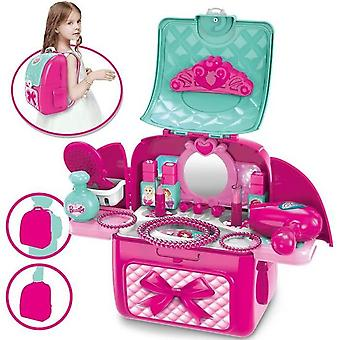 Jewelry Box Children Girls Cosmetics Makeup Hairstyle Kit 2 In 1 Toy Gift For Princess Girls 3 4 5 Years Old
