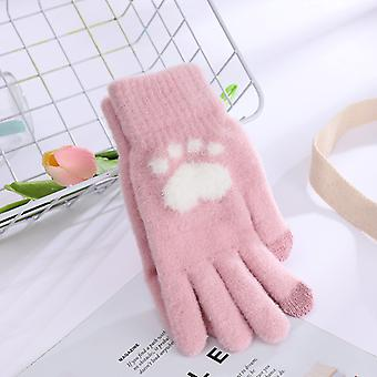 Winter New Adult Women's Full Finger Touch Screen Love Bear Paw Fashion Plush And Thick Warm Gloves