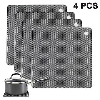 4pcs Food Grade Silicone Square Placemat Honeycomb Mat, impermeable