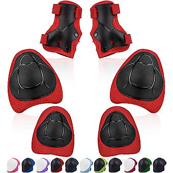 Kids Knee Pads Sets Knee Pads Elbow Pads Wrist Guards Adjustable Size 6pcs