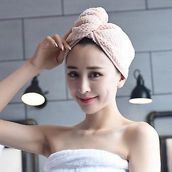 Badezimmer Korallenvlies Verdickte absorbierende trockene Haarkappe 2 Stück (rosa)