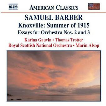 S. Barber - Barber: Knoxville - Summer of 1915; Essays for Orchestra Nos. 2 & 3 [CD] USA import