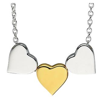 925 Silver Gold Plated Fashionable Heart Necklace