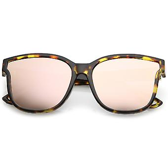 Women's Horn Rim Metal Accent Mirrored Square Flat Lens Cat Eye Sunglasses 55mm