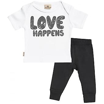Spoilt Rotten LOVE Happens Baby T-Shirt & Baby Jersey Trousers Outfit Set