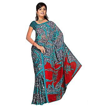 Trisha Georgette afgedrukt Casual Saree Sari buikdansen stof