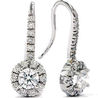 1 1 / 20ct Halo Pave diamants boucles d'oreilles 14K or blanc