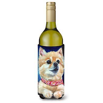 Fancy Bandana Pomeranian Puppy Wine Bottle beverage Insulator Hugger