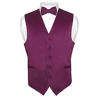 Męska kamizelka sukienka & BowTie Solid muszka zestaw dla garnitur Tux