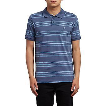 Volcom Wowzer Stripe Polo Shirt in Deep Blue