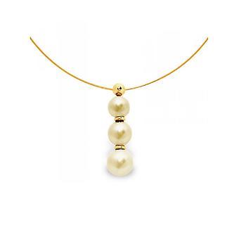 イエローゴールド製ケーブルを首輪 750/1000 と 3 ゴールド淡水真珠