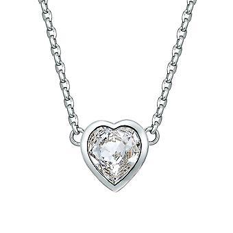 Hjerte halssmykke utsmykket med krystaller av SwarovskiWhite og Rhodium belagt