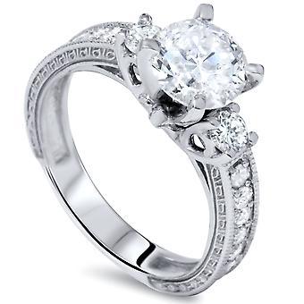 1 3/4ct Vintage Diamond Engagement Ring 14K White Gold Enhanced