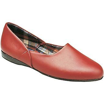 Mirak Mens Jayson slip cuero textil interior zapatillas zapato rojo