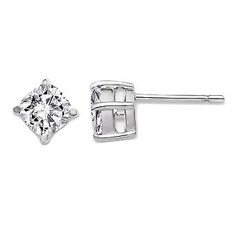Synthetic Moissanite Cusion Cut Solitaire Earrings 1.10 Carat (ctw) 5.0mm in 14K White Gold (1.20 Carat Diamond Look)