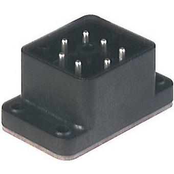 Hirschmann 932 478-100 gaan 610 FA M gemonteerd Connector met flens zwart aantal pinnen: 6 + PE