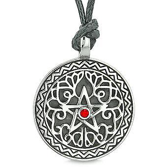Amulet femtakkede magiske stjerne keltiske forsvar beføjelser Pentagram rød krystal vedhæng Cord halskæde