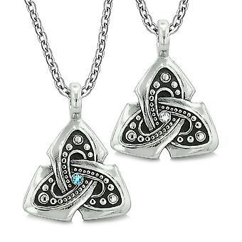 Oude Viking Keltische Triquetra knoop amuletten liefde paren of beste vrienden Set blauw witte kettingen