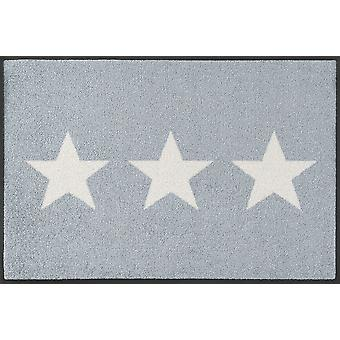 wassen + droge sterren grijs mat 40 x 60 cm, wasbaar Vloermatten