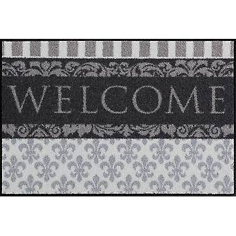 Salonloewe Fußmatte Welcome Lilien 50 x 75 cm waschbarer Türvorleger