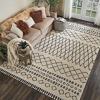 Marokkaanse Shaggy tapijten door Nourison Mrs02 In crème
