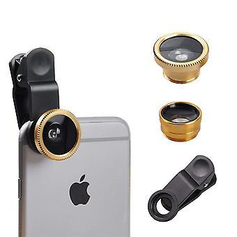 (Oro) Lente de cámara universal de teléfono móvil 3 en 1 kit gran angular + ojo de pez + lente macro para ZTE Blade A460