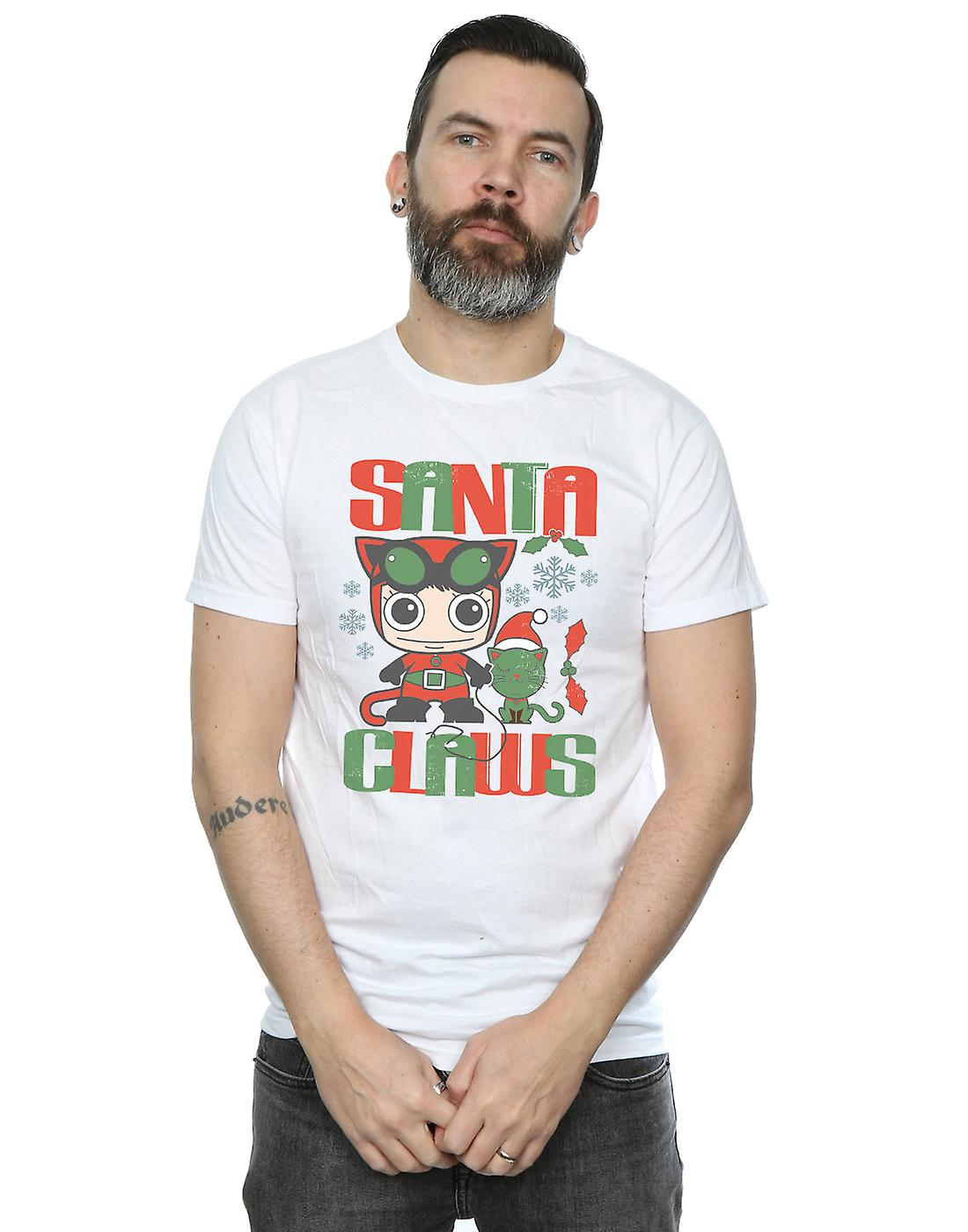 DC Comics Men's Chibi Catwoman Santa Claws T-Shirt