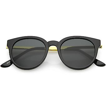 Vintage Horn Rimmed Round Sunglasses Metal Arm Round Lens 52mm