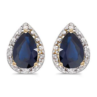 LXR 14k Yellow Gold Pear Sapphire and Diamond Earrings 1.26ct