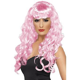 Lange gewellte Perücke, Siren Perücke, Fancy Dress Zubehör, rosa Filmstar.
