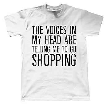 Röster i mitt huvud Gå Shopping, Mens Funny T Shirt - Gift Honom