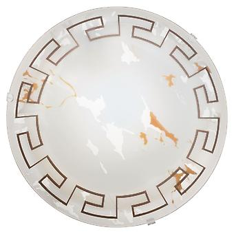 Eglo - Twister 1 light traditional flush ceiling light marble effect glass greek style small EG82891